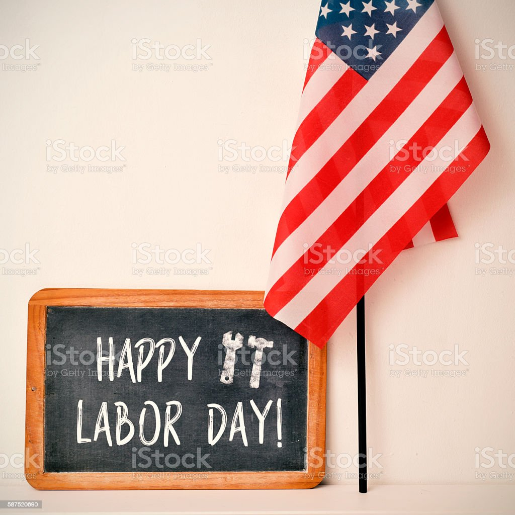 text happy labor day and American flag stock photo