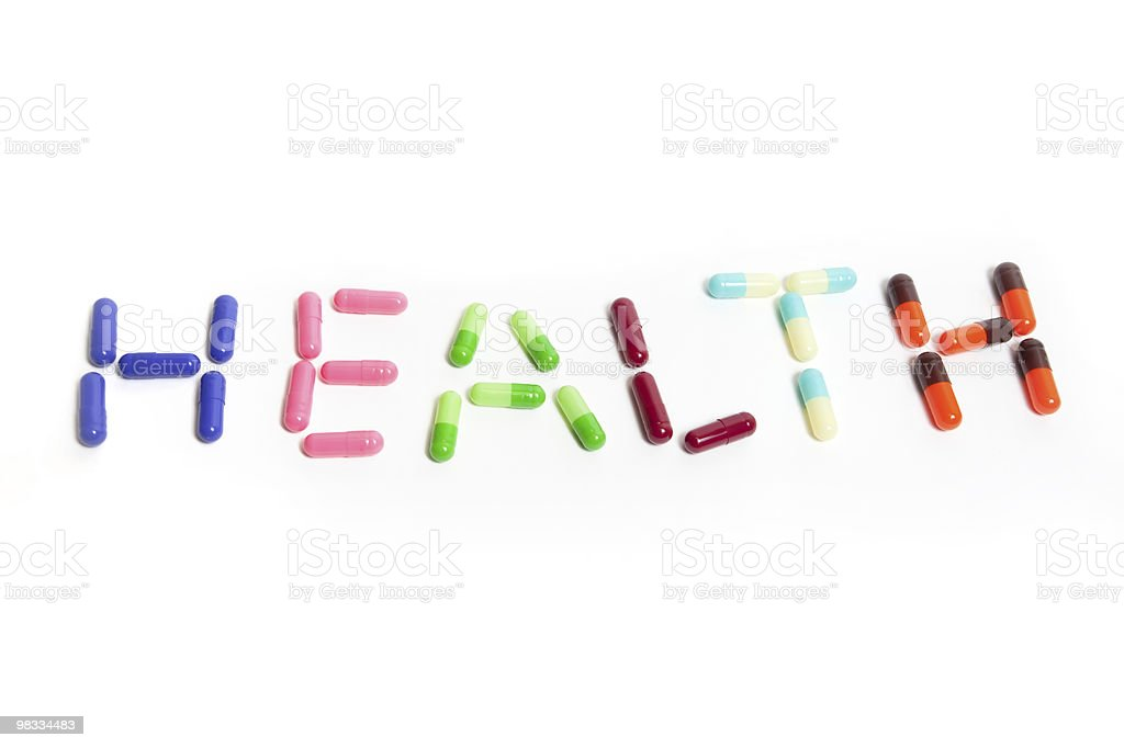 text health made from the capsules royalty-free stock photo
