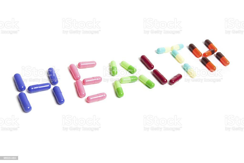Testo salute realizzato in capsule foto stock royalty-free
