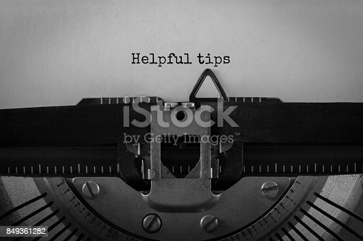 istock Text Helpful tips typed on retro typewriter 849361282