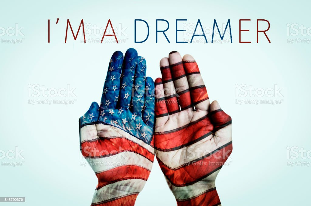 text I am a dreamer and American flag stock photo