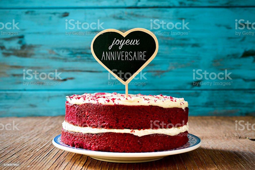 text joyeux anniversaire, happy birthday in french stock photo
