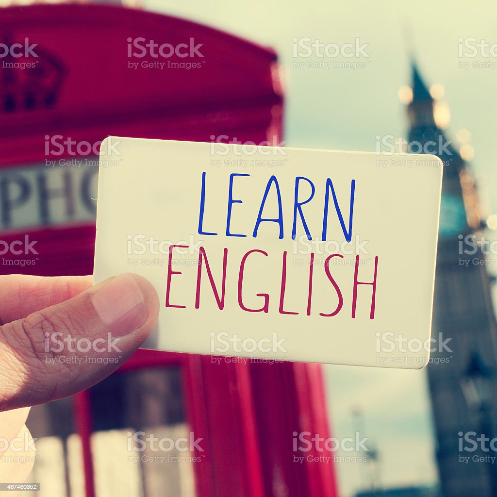text learn english in a signboard with the Big Ben stock photo