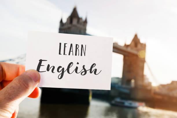 text learn english in london, uk - english foto e immagini stock
