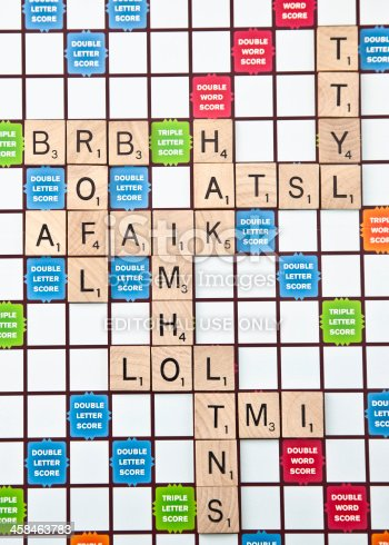 Suffolk, Virginia, USA - May 24, 2011: A vertical studio shot of various acronyms used for text messaging spelt out on a Scrabble board using Scrabble tiles.