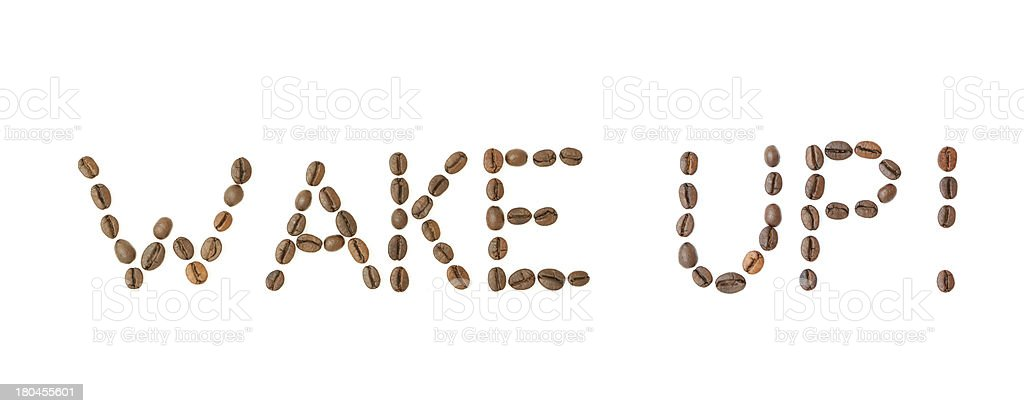 WAKE UP! text made of coffee beans stock photo