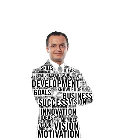 Businessman figure made of business conceptual words