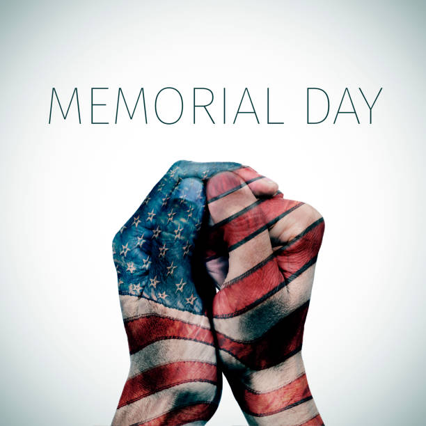 text memorial day and american flag - memorial day stock photos and pictures