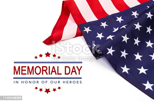 istock Text Memorial Day on American flag background - Image 1143448069