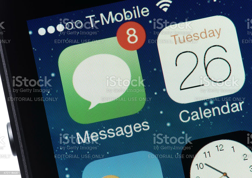 Text Messages on an iPhone stock photo