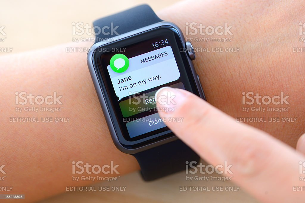 Text messages on Apple Watch stock photo