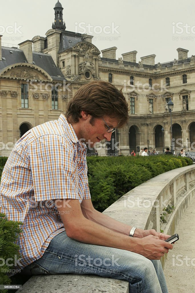 Text messaging in paris royalty-free stock photo