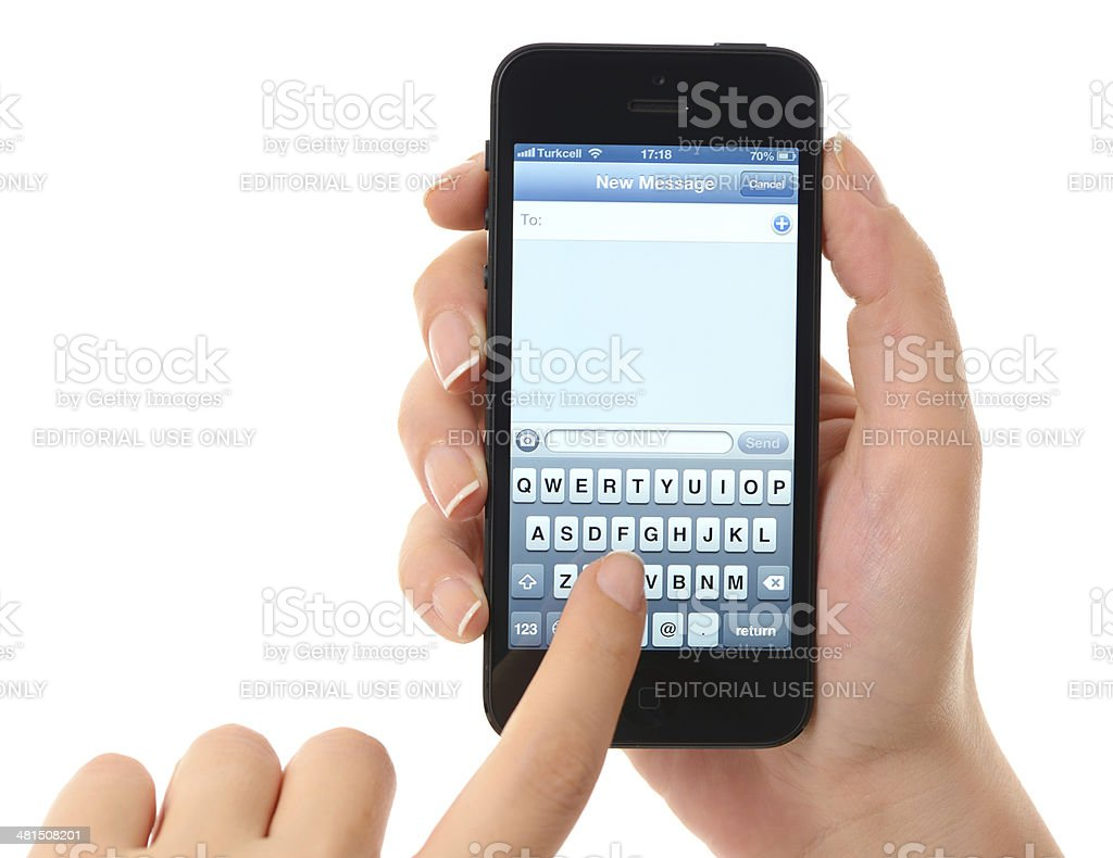 Text Messaging Screen On Iphone 5 Stock Photo - Download ...