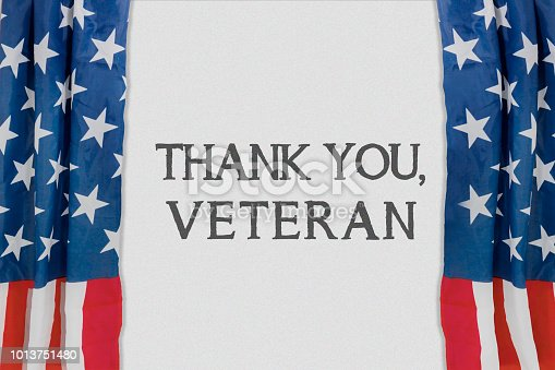istock Text of thank you, veteran showed on theater 1013751480