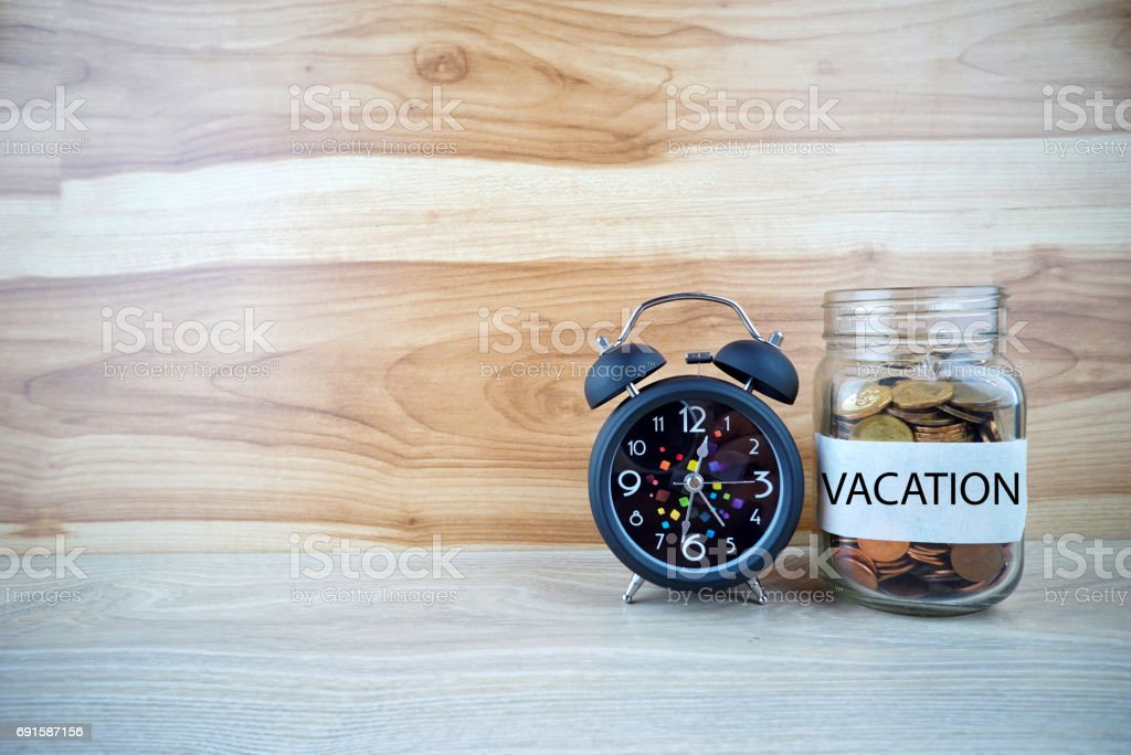 VACATION text on concept stock photo