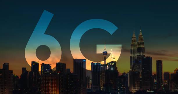 6G text on Kuala Lumpur Malaysia background. stock photo