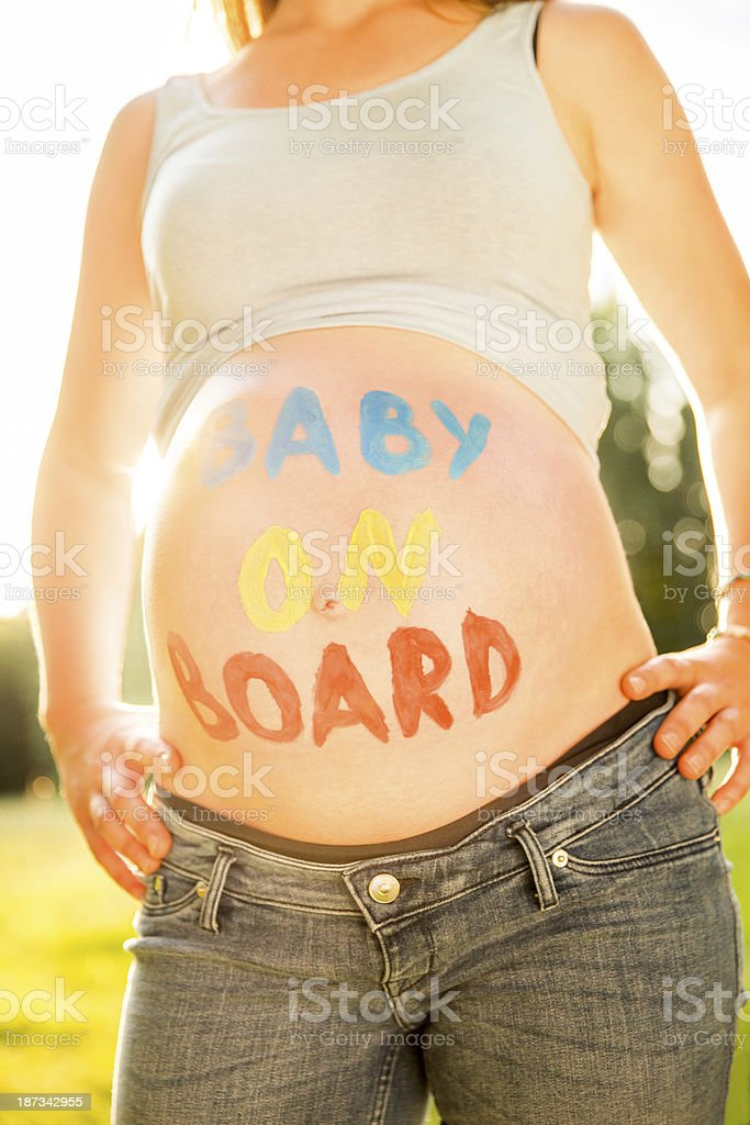 Text On Pregnant Woman's Belly stock photo