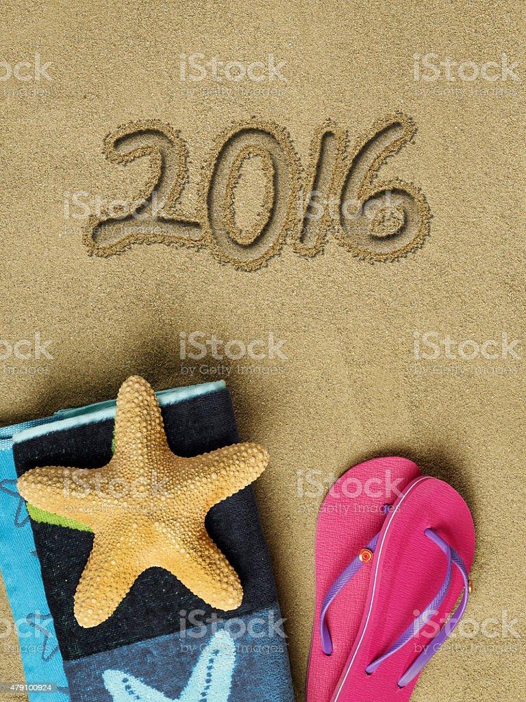 2016 text on sand stock photo