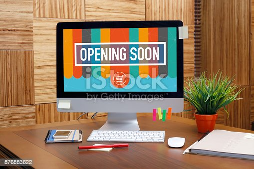 istock OPENING SOON text on screen 876883622