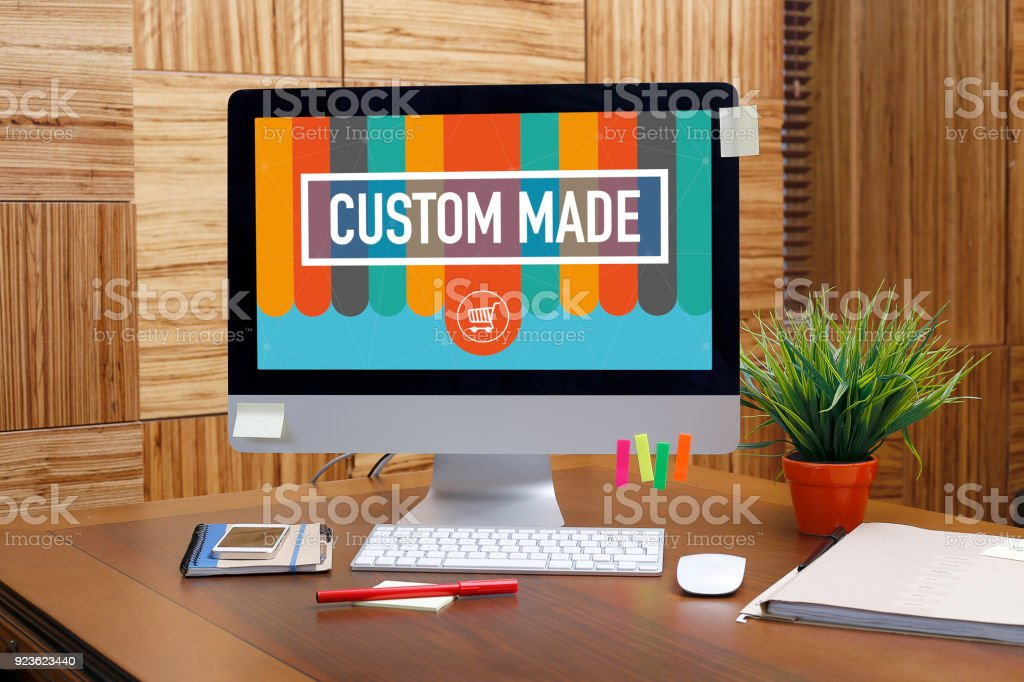 CUSTOM MADE text on screen stock photo