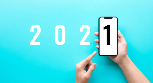 2021 text on smartphone.new yeat and trendy concepts stock photo