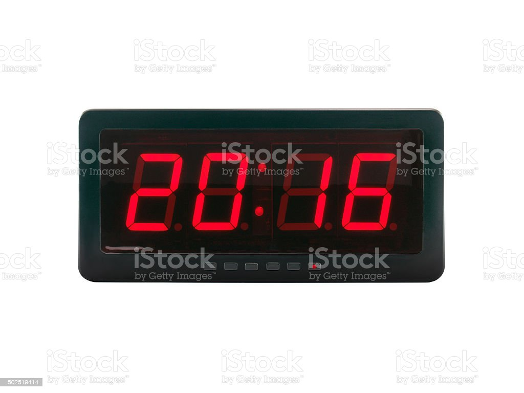 A.D. 2016 text on the digital clock face stock photo