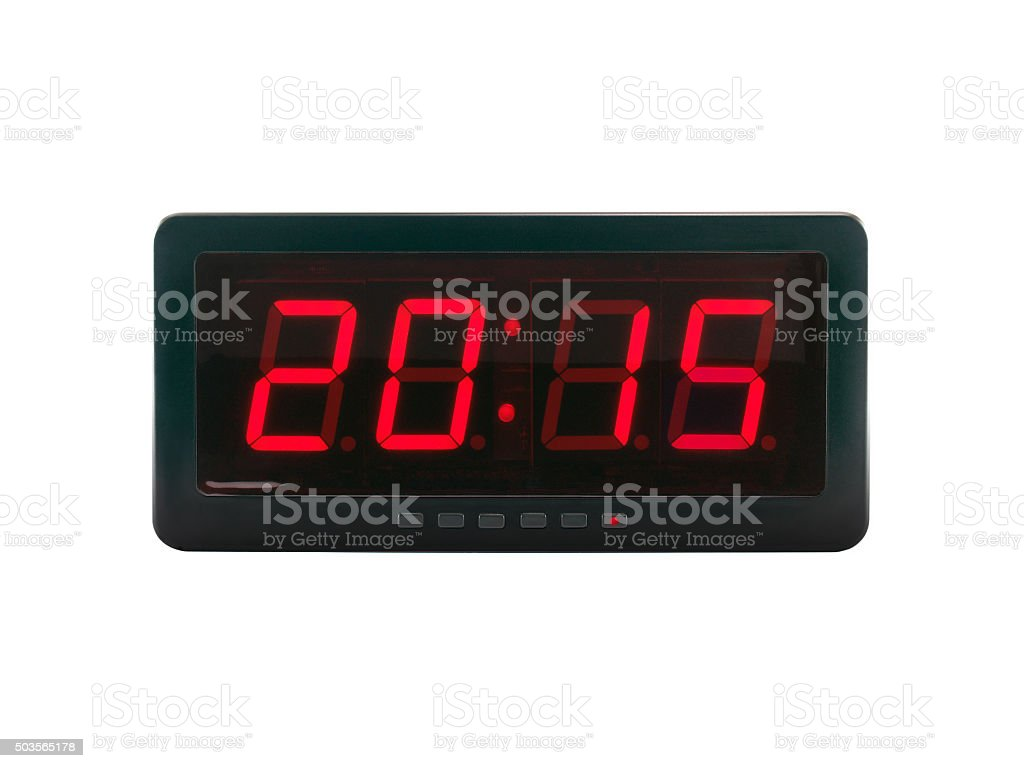 A.D. 2015 text on the digital clock face stock photo