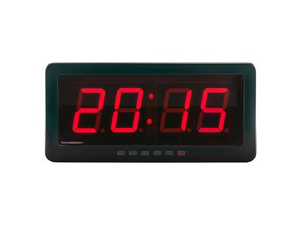 v. chr. 2015 text auf der digital clock face - led uhr stock-fotos und bilder
