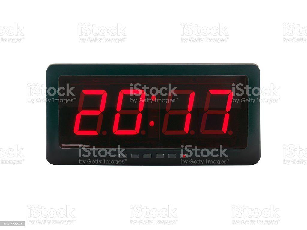 A.D. 2017 text on the digital clock face stock photo