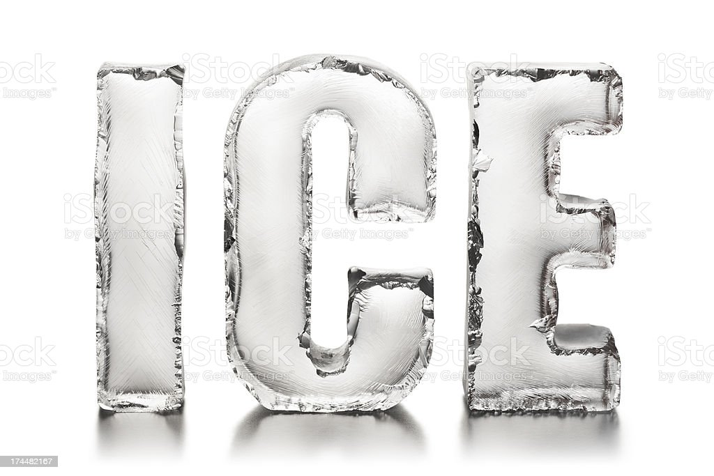 ICE text on white surface stock photo