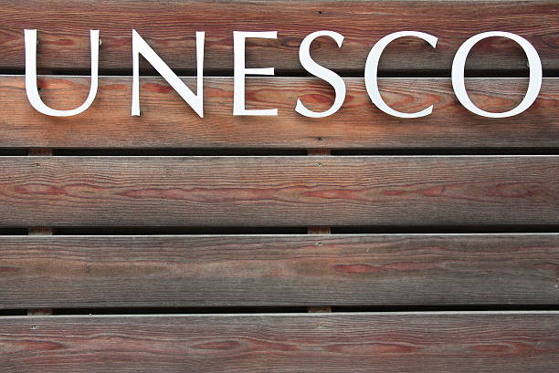 UNESCO text on wood background UNESCO text on brown wood background unesco stock pictures, royalty-free photos & images