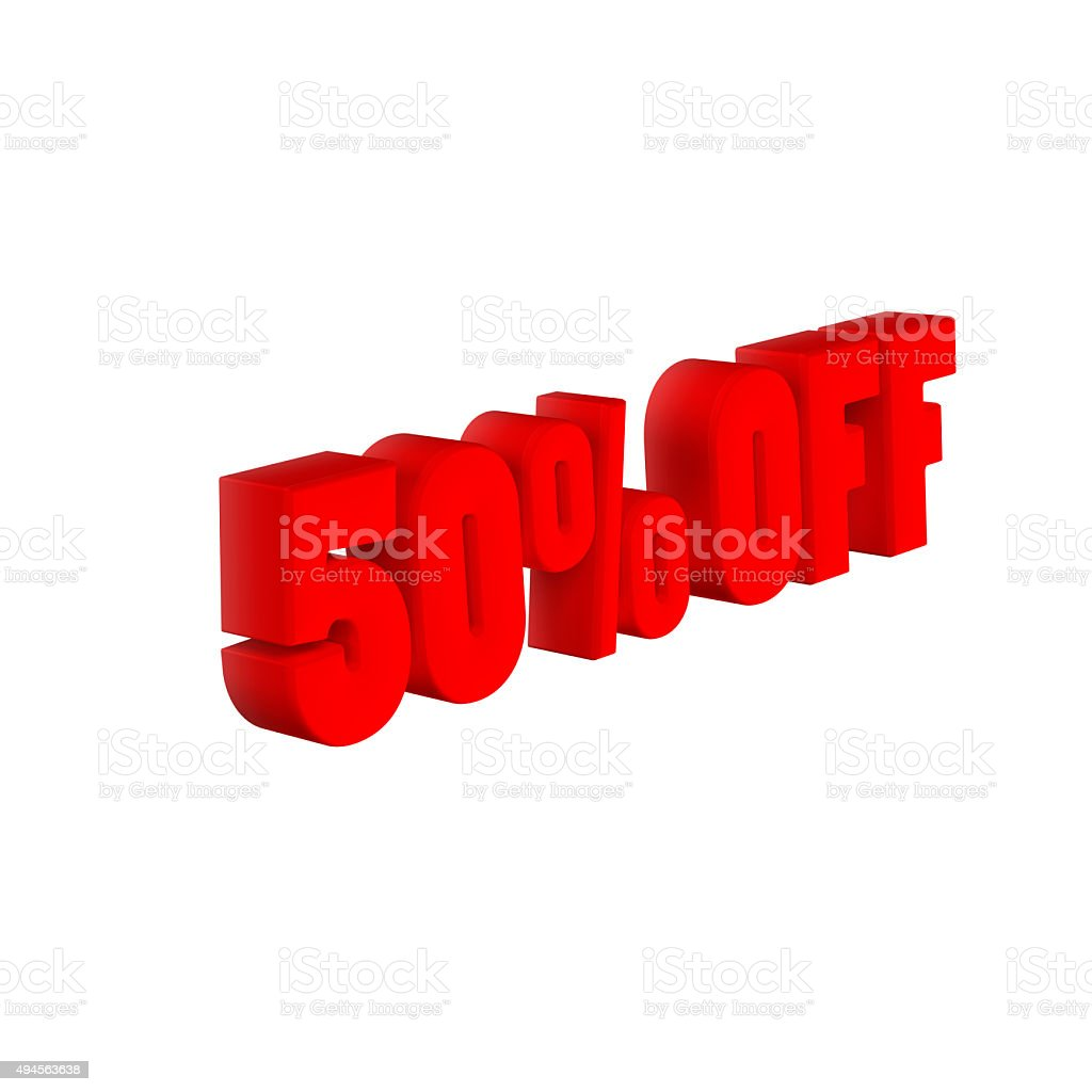 50 % OFF 3D Text stock photo