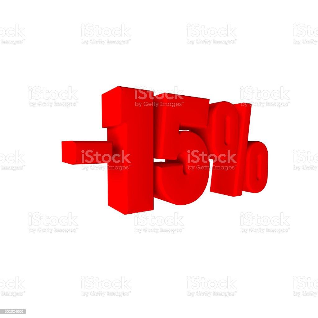 - 15 % 3D Text stock photo