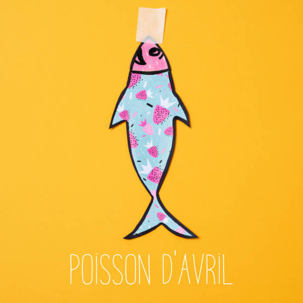 text poisson d avril, april fools day in french - april fools stock pictures, royalty-free photos & images
