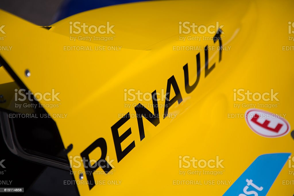 Berlin, Germany - May 20, 2016: text Renault on car stock photo