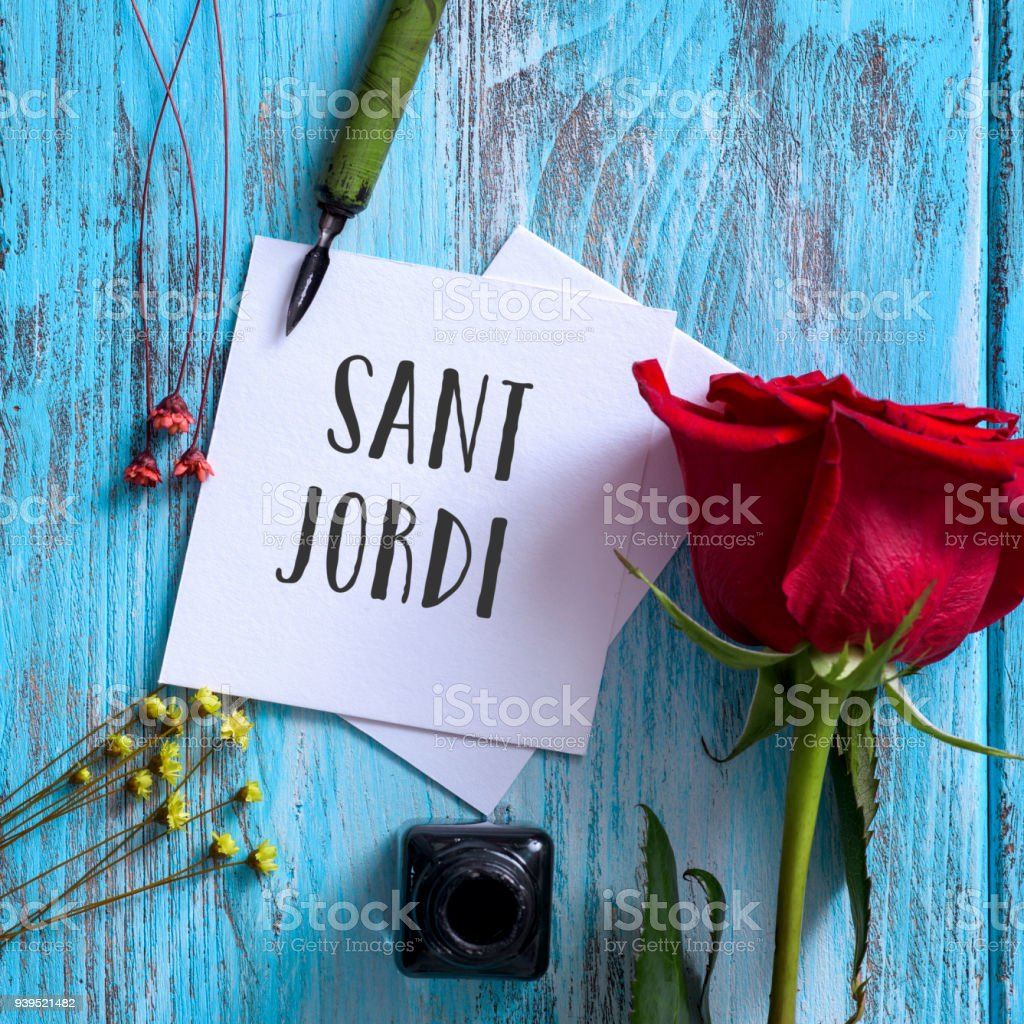 text Sant Jordi, Saint George Day in Catalan stock photo