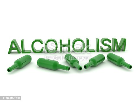 istock 3D Text saying Alcoholism and bottles around it 1184187090