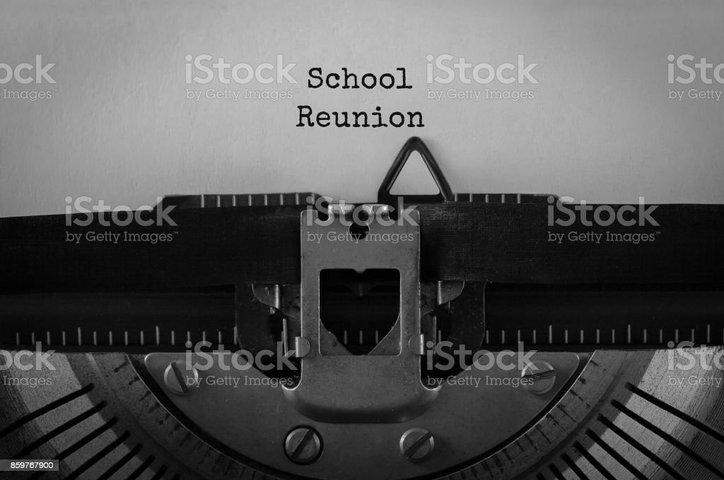 Text School Reunion typed on retro typewriter stock photo