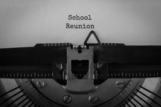 Text School Reunion typed on retro typewriter Text School Reunion typed on retro typewriter alumnus stock pictures, royalty-free photos & images