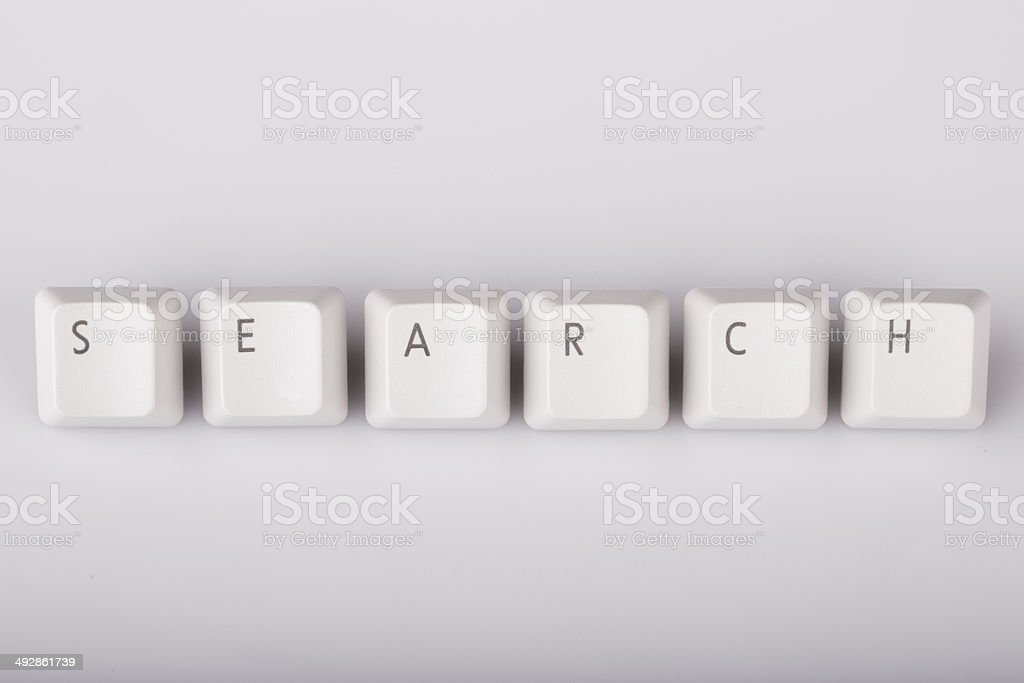 text search formed with computer keyboard keys on white backgrou royalty-free stock photo