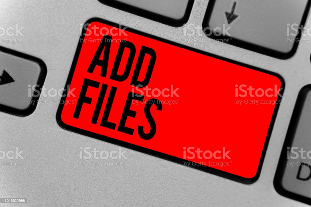 Text sign showing Add Files. Conceptual photo To put more information to a certain person,thing,or document Keyboard red key Intention create computer computing reflection document. Text sign showing Add Files. Conceptual photo To put more information to a certain person,thing,or document Keyboard red key Intention create computer computing reflection document Concentration Stock Photo