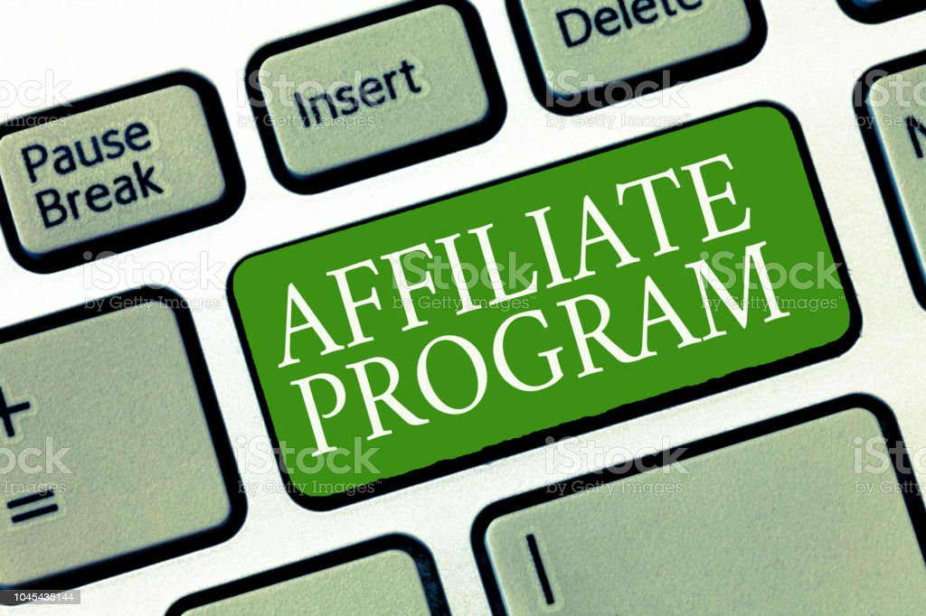 Text sign showing Affiliate Program. Conceptual photo Automated platform of two or more parties Associated stock photo