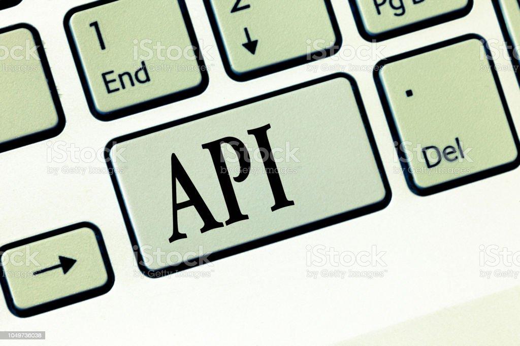 Text sign showing Api. Conceptual photo Tools for building software Computer programming routines protocols - fotografia de stock