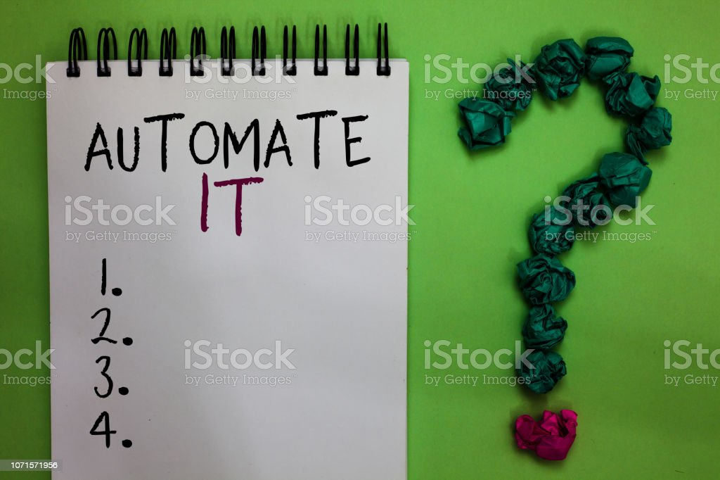 Text sign showing Automate It. Conceptual photo convert process or facility to be operated automatic equipment. Open notebook crumpled papers forming question mark green background. stock photo