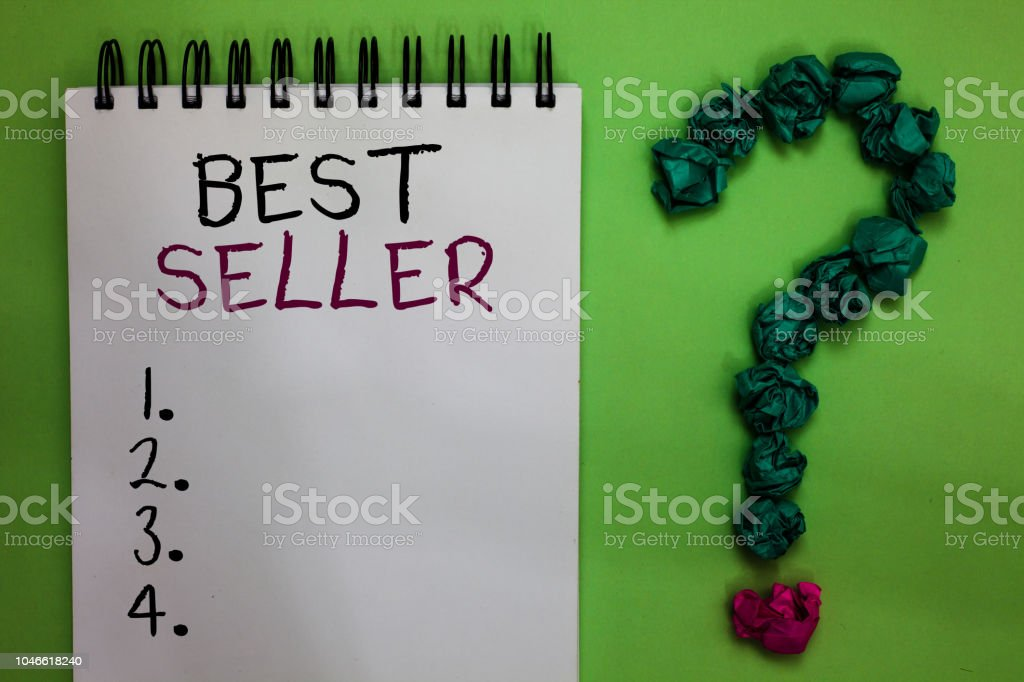Text sign showing Best Seller. Conceptual photo book or other product that sells in very large numbers Open notebook crumpled papers forming question mark green background. stock photo