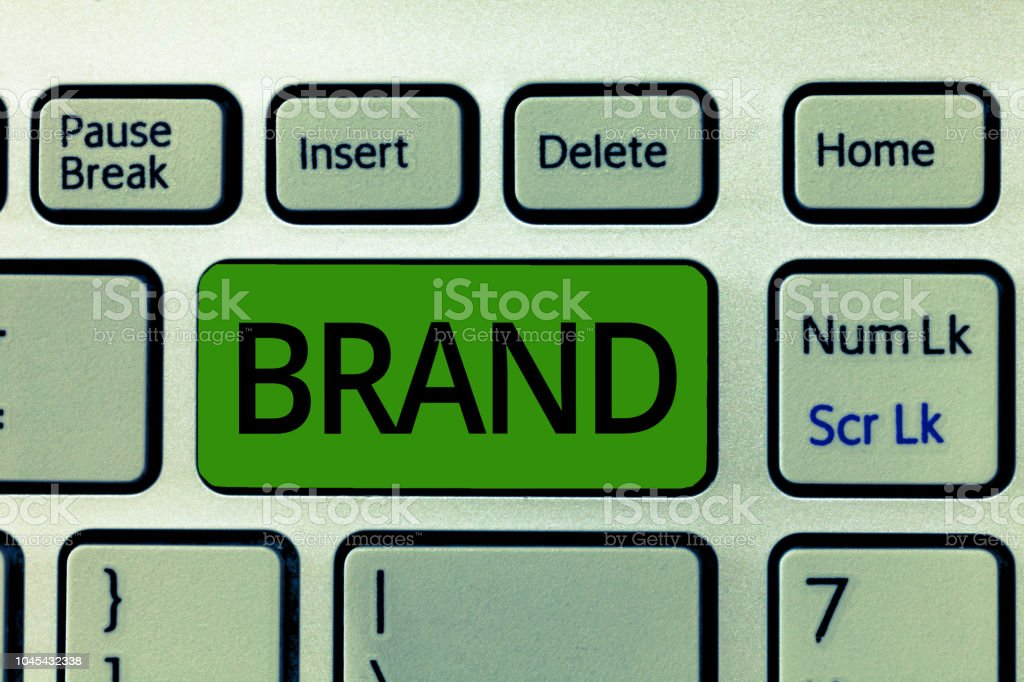 Text sign showing Brand. Conceptual photo Type of product manufactured by a company under a particular name – zdjęcie
