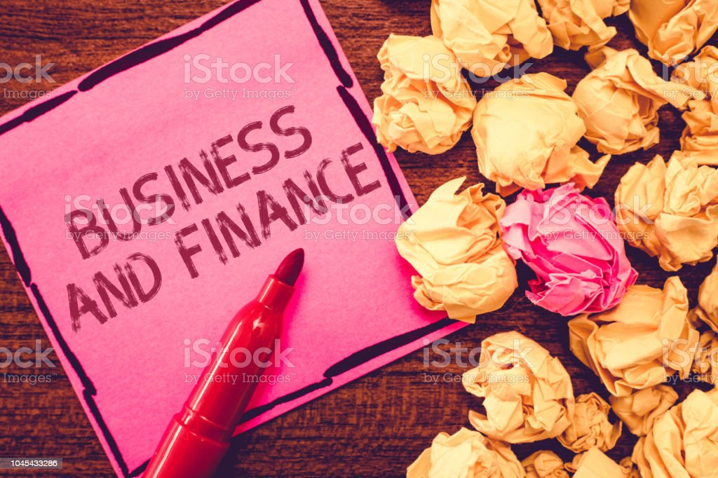 Text sign showing Business And Finance. Conceptual photo Management of Asset Money and Fund of a company stock photo