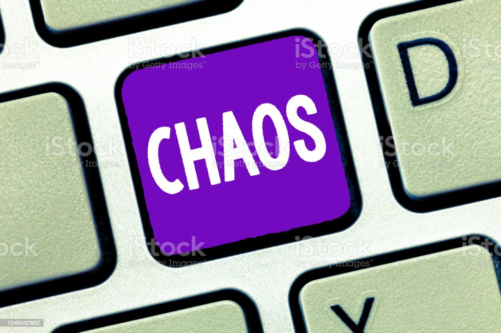 Text sign showing Chaos. Conceptual photo Complete disorder and great confusion Widespread destruction