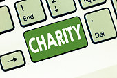 istock Text sign showing Charity. Conceptual photo Organization provide help Raise money for support showing in need 1071916180