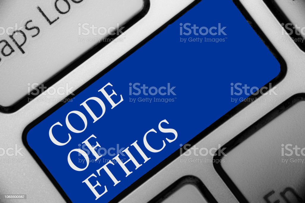 Text sign showing Code Of Ethics. Conceptual photo Moral Rules Ethical Integrity Honesty Good procedure Keyboard blue key Intention create computer computing reflection document. stock photo